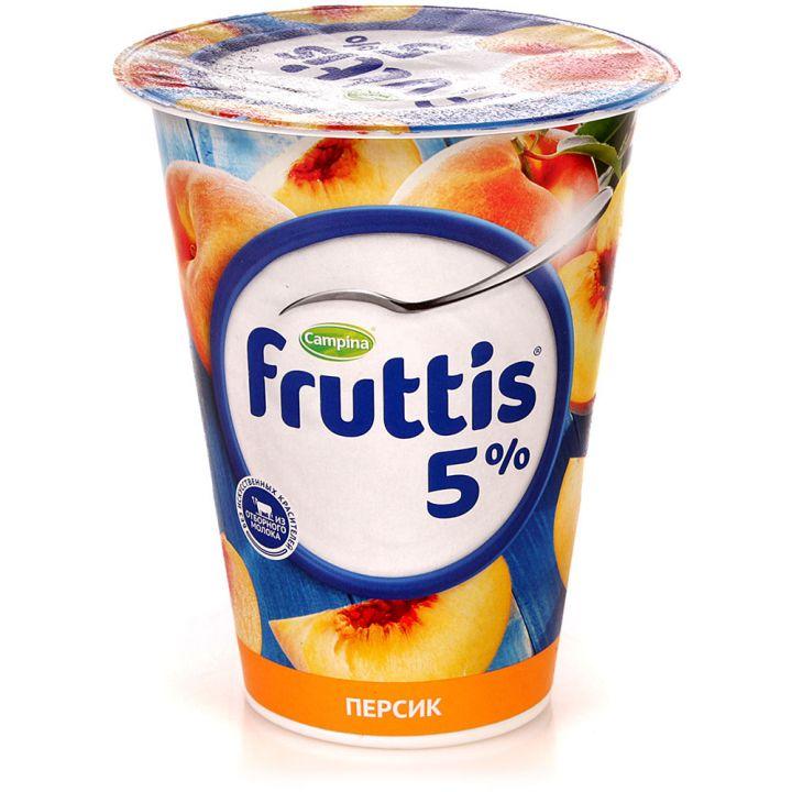 Продукт йогуртный Фруттис Сливочное лакомство 5% персик 290гр. ООО Кампина