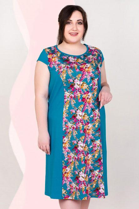 Платье домашнее арт.0090-21 изумруд, кулирка