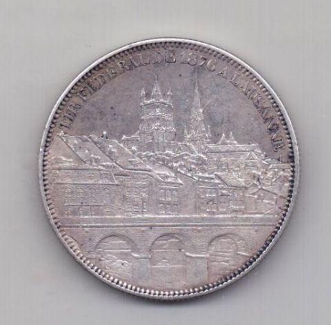 5 франков 1876 года AUNC Лозанна Швейцария