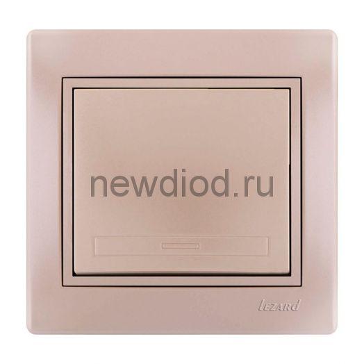 MIRA Выключатель жемчужно-белый перламутр со вставкой Lezard