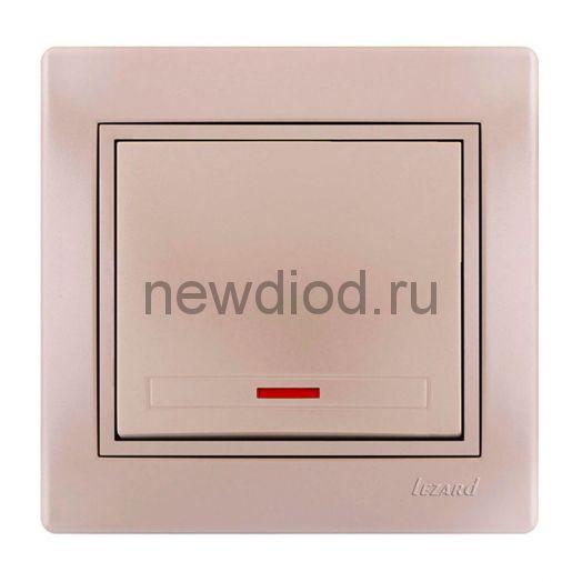 MIRA Выключатель с подсветкой жемчужно-белый перламутр со вставкой Lezard