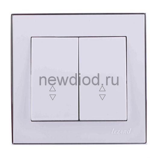 RAIN Выключатель проходной двойной белый с  бок. вст. хром Lezard