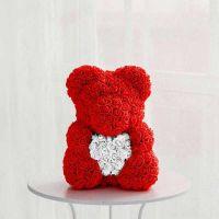 Красный мишка из роз с сердцем, 40 см