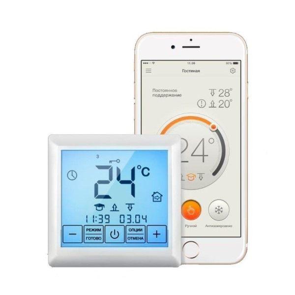Электронный терморегулятор Теплолюкс MCS 350 Wi-Fi программируемый для теплого пола белый