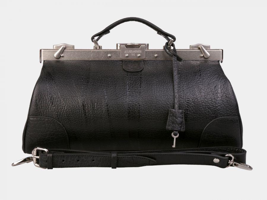 Кожаный саквояж Alexander-TS «SW14 Black Bizon»