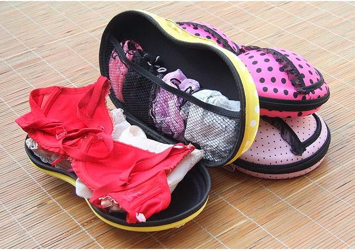 Сумочка-чехол для бюстгалтеров BRABAG, Цвет Розовый, В крупный горох