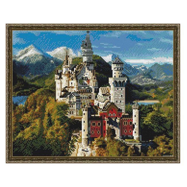 Набор Алмазная мозаика Замок Нойшванштайн с нанесенной рамкой 40*50см