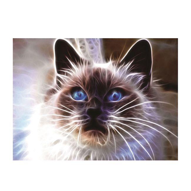 Картина-открытка мозаикой. Сиамский кот 15*20см