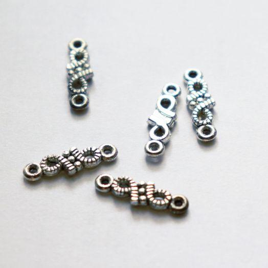 Коннектор №1 на 2 петли, 15 мм, цвет тибет.серебро, 5 шт/упак