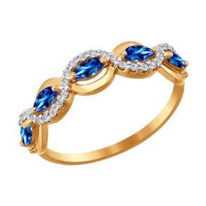 Кольцо из золота с синими фианитами 016646 SOKOLOV