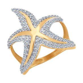 Кольцо с фианитами «Морская звезда» 017088 SOKOLOV