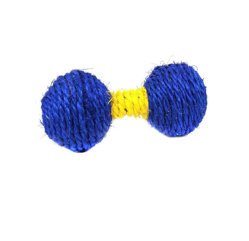 Игрушка-погремушка для кошек из сизаля Гантель, 13х5 см, Цвет Синий/Желтый