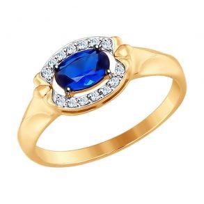 017512 Кольцо из золота с бесцветными и синим фианитами SOKOLOV
