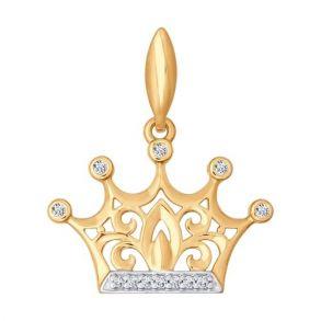 Золотая подвеска «Корона» 034783 SOKOLOV
