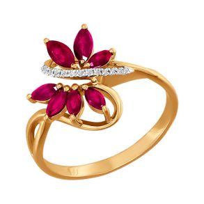 Кольцо из золота с бриллиантами и рубинами 4010550  SOKOLOV
