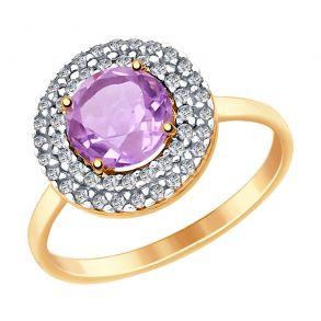 Кольцо из золота с аметистом и фианитами 714975 SOKOLOV
