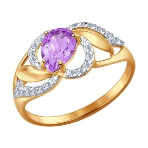 Кольцо из золота с аметистом и фианитами 714460 SOKOLOV