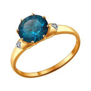 Кольцо из золота с топазом и фианитами 714004 SOKOLOV