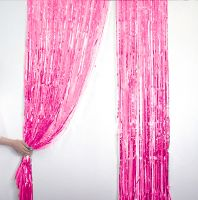 Новогодний дождик Штора, 2 м х 1 м, цвет розовый (2)