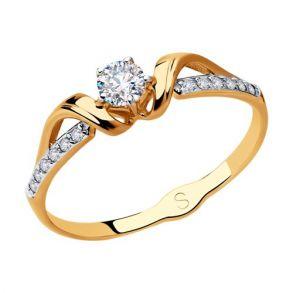 Кольцо из золота с фианитами 018081 SOKOLOV