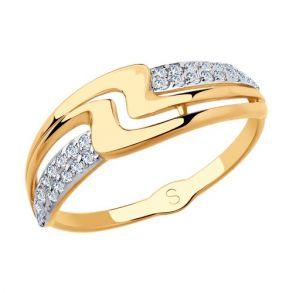 Кольцо из золота с фианитами 018137 SOKOLOV
