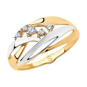 Кольцо из золота с фианитами 018180  SOKOLOV
