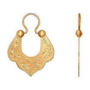 Серьги восточные из золота с гравировкой 022641 SOKOLOV