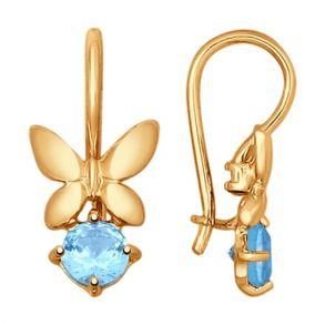 Серьги «Бабочки» из золота с топазами 724831 SOKOLOV