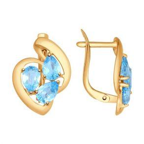Серьги из золота с голубыми топазами 724775 SOKOLOV