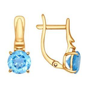 Серьги из золота с голубыми топазами 724606 SOKOLOV