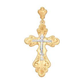 Крест из комбинированного золота с гравировкой 121087 SOKOLOV