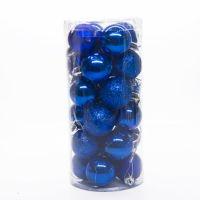 Набор украшений для елки Шары, 24 шт, цвет синий