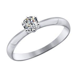 Помолвочное кольцо из белого золота со Swarovski Zirconia 81010226 SOKOLOV