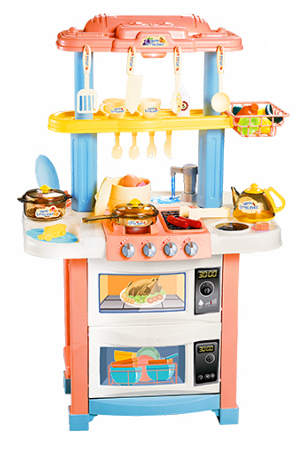728A Игровой набор кухня с водой и паром, высота 83 см. двухсторонняя с мини маркетом