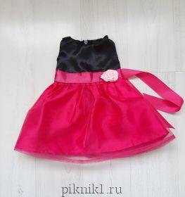 Платье черное с малиновым