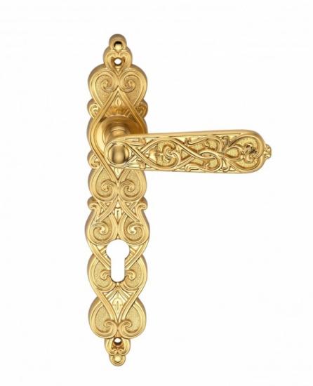 Ручка Дверная На Планке Archie, Arabesco S. Gold (Cl), Матовое ЗолотоПод Ключ. Цилиндр