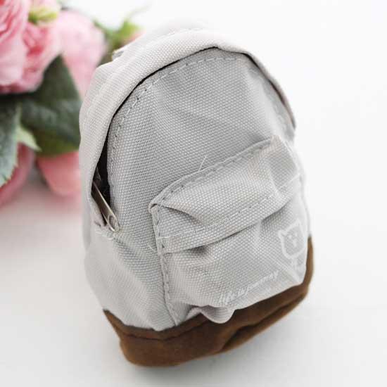Кукольный аксессуар - Рюкзак для куклы тканевый Серый, 12 см