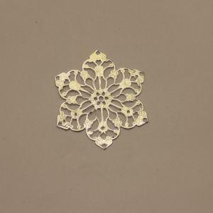 """Декоративный элемент """"филигрань"""" цветок 55 мм, цвет серебро (1уп = 50шт)"""