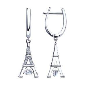 """Серьги из серебра """"Эйфелева башня""""со Swarovski Zirconia 89020113"""