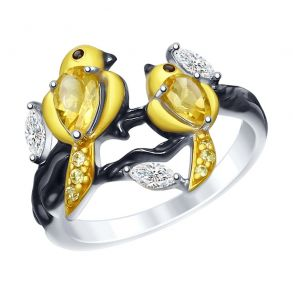 Кольцо «Птички» с цитринами и фианитами 92011502 SOKOLOV