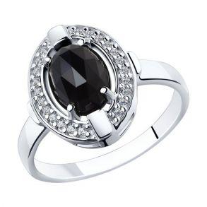 Кольцо из серебра с чёрным агатом и фианитами 92011798 SOKOLOV