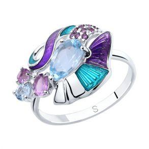 Кольцо из серебра с эмалью и миксом камней 92011822 SOKOLOV
