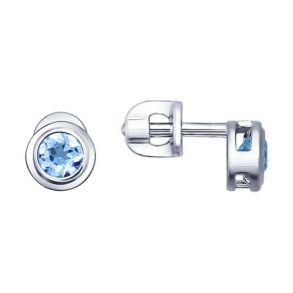 Серьги-пусеты из серебра с топазами 92021081 SOKOLOV