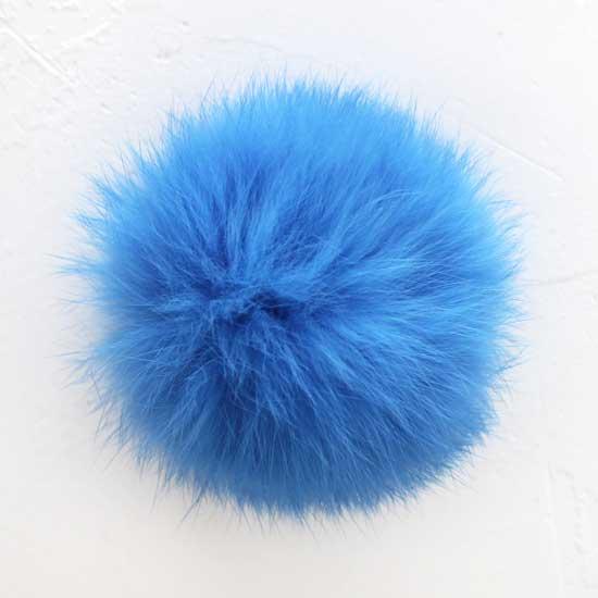 Меховой помпон Синий, 7 см  (натуральный)