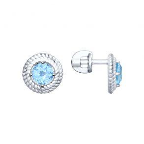 Серьги-гвоздики из серебра с топазами 92021704 SOKOLOV
