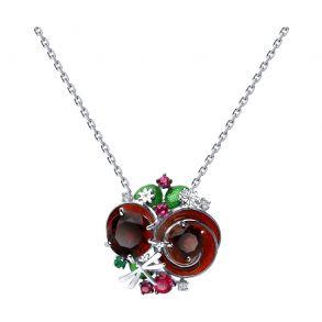 Колье из серебра с эмалью и красными ситаллами и фианитами 92070041 SOKOLOV