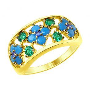 Кольцо из золочёного серебра с голубыми ситаллами и фианитами 93010764 SOKOLOV