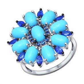 Кольцо из серебра с бирюзой и фианитами 94011831 SOKOLOV