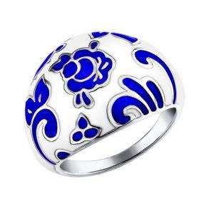 Кольцо стилизованное под Гжель 94011115 SOKOLOV