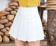 Модная плиссированная юбка белая с шортиками